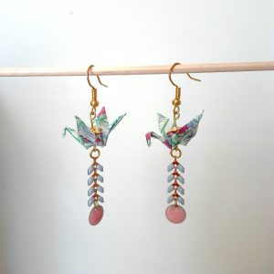 Boucles d'oreille GRUES SEQUINS Rose