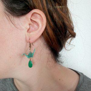 Boucles d'oreille GRUE SEQUIN NAVETTE
