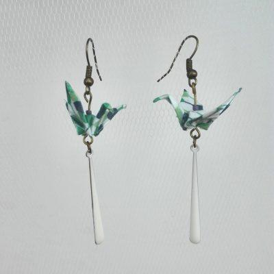 Boucles d'oreille SOLENE Vert blanc