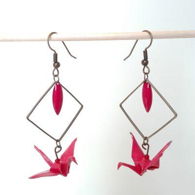 Boucles d'oreille GRAND LOSANGE Rouge