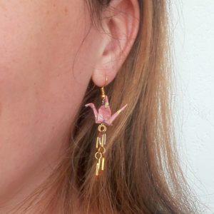 Boucles d'oreille NID D'ABEILLE Rose