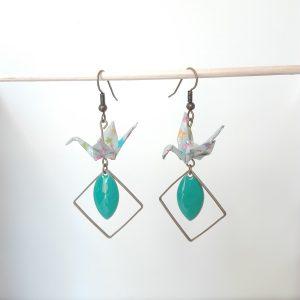 Boucles d'oreille GRAND LOSANGE INVERSE Turquoise
