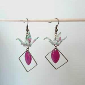 Boucles d'oreille GRAND LOSANGE INVERSE Fuschia