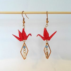 Boucles d'oreille GRUES MEDAILLON Orange