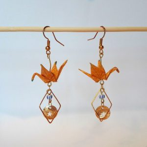 Boucles d'oreille GRUES MEDAILLON Jaune