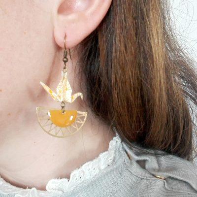 Boucles d'oreille AZTEQUE jaune