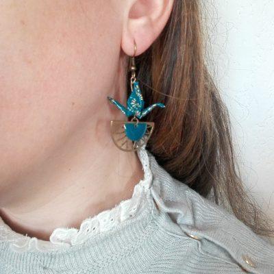 Boucles d'oreille KAREN bleu canard