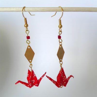 Boucles d'oreille KYOTO rouge