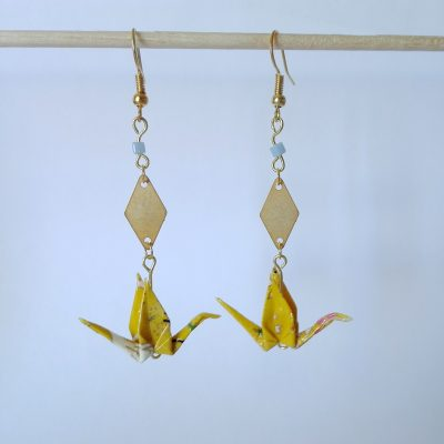 Boucles d'oreille KYOTO jaune moutarde
