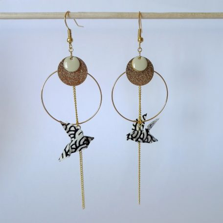 Boucles doreille Colombe origami