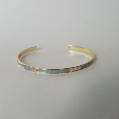 Bracelet manchette MAIKO doré bleu