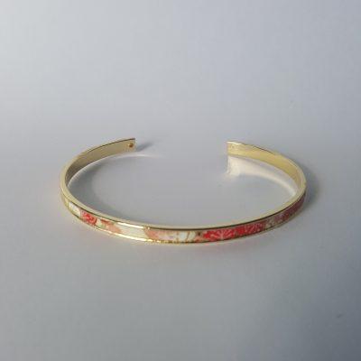 Bracelet manchette MAIKO doré rouge