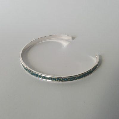 Bracelet manchette MAIKO argenté bleu nuit
