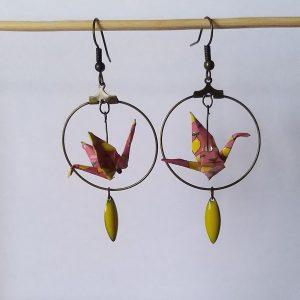 Boucles d'oreille NIKKI rose jaune