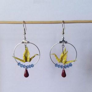 Boucles d'oreille SANDRA jaune bordeaux